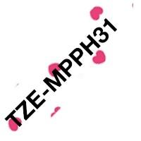 Brother Original DirectLabel schwarz auf pink hearts Laminat TZEMPPH31