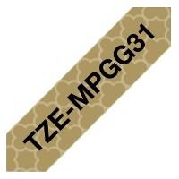 Brother Original DirectLabel schwarz auf gold Laminat TZEMPGG31